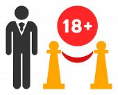 For Adults Only Raster Icon. Flat For Adults Only Pictogram Is Isolated On A White Background. poster