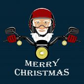 Vector Image Santa Claus In A Motorcycle Helmet. Santa Claus, Motorcycle Steering Wheel, Motorcycle  poster