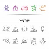 Voyage Line Icon Set. Cruise Liner, Van, Vessel, Ship. Beach Concept. Can Be Used For Topics Like Tr poster