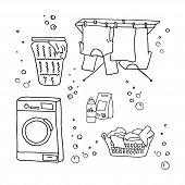 Laundry Doodle Set, Washing Clothes, Washing Machine, Laundry Detergent, Laundry Basket, Clothes Dry poster