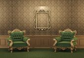 image of pompous  - Armchairs and Empty golden frame on a wall - JPG
