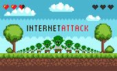 Pixel Game Interface Hacker Attack. Hacker Troll Monster Characters, Hacking The Internet. E-mail Sp poster