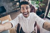 Close Up Photo Of Crazy Funky Funny Middle Eastern Business Man Make Selfie Have Online Meeting With poster