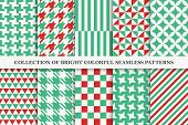 Collection Of Bright Seamless Colorful Geometric Patterns. Endless Textile Textures. Vibrant Tileabl poster