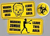 Постер, плакат: Зомби вспышки Biohazard предупреждение наклейки этикетки