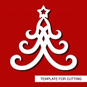 New Years Decoration - Christmas Tree With Stars. Template For Laser Cutting, Wood Carving, Paper Cu poster