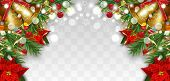 Christmas And New Year Border Decorations With Fir Branches, Golden Bells, Christmas Flowers Poinset poster