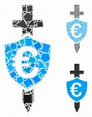 Euro Shield Composition Of Uneven Elements In Various Sizes And Shades, Based On Euro Shield Icon. V poster