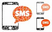 Phone Sms Mosaic Of Joggly Items In Various Sizes And Color Tinges, Based On Phone Sms Icon. Vector  poster