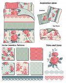 image of duck egg blue  - Vintage Floral Rose Vector Seamless Patterns - JPG