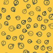 Blue Line Time Is Money Icon Isolated Seamless Pattern On Yellow Background. Money Is Time. Effectiv poster