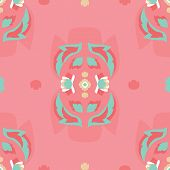 Vector Folklore Rose And Leaves Symmetrical Composition On Pink Seamless Pattern Background. poster