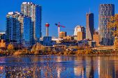 A Bright Blue Sky Over Downtown Calgary poster