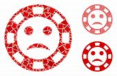 Sad Casino Chip Mosaic Of Joggly Pieces In Various Sizes And Color Tinges, Based On Sad Casino Chip  poster