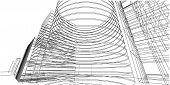 Architecture Building 3d Illustration, 3d Illustration Architecture Building Perspective Lines, Mode poster