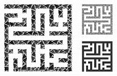 Maze Mosaic Of Inequal Parts In Various Sizes And Color Hues, Based On Maze Icon. Vector Inequal Par poster