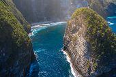 Manta Bay Or Kelingking Beach On Nusa Penida Island, Bali, Indonesia, Top View Of The Beautiful Sea  poster