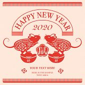 2020 Happy Chinese New Year Of Rat And Gold Ingot. Flat Style Design For Holiday Decoration Template poster