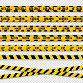 Police Caution Danger Line. Warning Barrier. Black And Yellow Security Vector Ribbon. poster