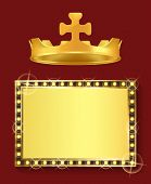 King Or Queen Jewelry, Gold Frame And Royal Crown Vector. Blank Framework, Shiny Borderline And Mona poster