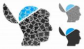 Open Brain Mosaic Of Tremulant Parts In Various Sizes And Color Tints, Based On Open Brain Icon. Vec poster