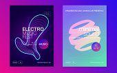 Club Flyer. Minimal Show Magazine Set. Dynamic Fluid Shape And Line. Neon Club Flyer. Electro Dance  poster