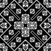 Geometric Tribal Black And White Seamless Pattern. Vector Ornamental Ethnic Style Carpet Background. poster