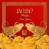 2020 Happy Chinese New Year Of Retro Gold Craft Relief Zodiac Sign Rat, Ingot, Money Coin And Lattic poster