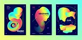 Neon Music Party. Gradient Pattern. Electronic Club Festival. Multicolor 3d Flow Movement. Rainbow M poster