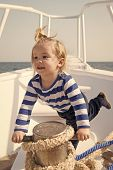 Baby Enjoy Sea Cruise. Boy Sailor Travel Sea. Boy Sea Yacht Travel Around World. Sea Traveller. Time poster