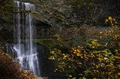 Behind A Waterfall Hiking Trail In Oregon. Salem. Autumn Landscape In  Pacific Northwest. United Sta poster