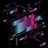 Abstract Blue And Pink Gradient Color Light Geometric Diagonal Vibrant Neon On Black Background. Tec poster