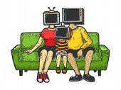 Tv Heads Family Sketch Engraving Vector Illustration. T-shirt Apparel Print Design. Scratch Board St poster