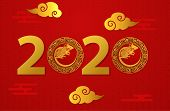 2020 Text Isolated On Red Background, New Year 2020, Text Chinese New Year 2020, 2020 Text For Calen poster