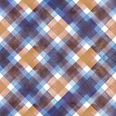 Watercolor Diagonal Stripe Plaid Seamless Texture. Colorful Blue And Brown Stripes Background. Water poster