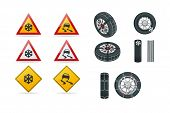 Snow Chains On Tire. Slippery Road. Traffic Signs And Tire With Mounted Snow Chains Isolated On Whit poster