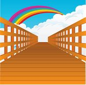 stock photo of pon  - A bridge stretching into the sky with clouds and a rainbow - JPG