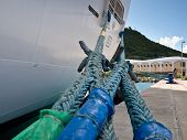 Ship mooring ropes
