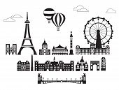 Vector Set Of  Landmarks Of Paris. City Skyline Vector Illustration In Black And White Colors Isolat poster
