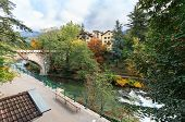 Embankment Of The Passer River In The Fall. View Of The Steinerner Steg Bridge - Oldest Bridge In Th poster