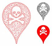 Mesh Danger Zone Map Marker Model With Triangle Mosaic Icon. Wire Frame Triangular Mesh Of Danger Zo poster