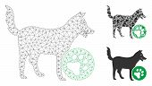 Mesh For Dogs Model With Triangle Mosaic Icon. Wire Frame Polygonal Mesh Of For Dogs. Vector Mosaic  poster