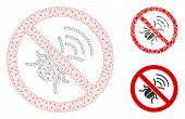 Mesh No Spy Bug Model With Triangle Mosaic Icon. Wire Frame Triangular Mesh Of No Spy Bug. Vector Mo poster