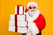 Portrait Of Funny Funky Grey Hair Santa Claus In Red Hat Hold Packages He Brings For Good Kids Peopl poster