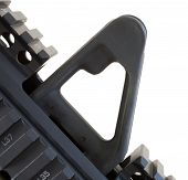 stock photo of ar-15  - A2 style front sight isolated that is found on an AR 15 rifle - JPG
