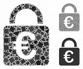 Euro Lock Composition Of Joggly Pieces In Variable Sizes And Shades, Based On Euro Lock Icon. Vector poster