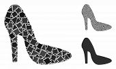 Lady Shoe Mosaic Of Rugged Parts In Different Sizes And Color Tinges, Based On Lady Shoe Icon. Vecto poster