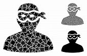 Masked Thief Mosaic Of Uneven Items In Various Sizes And Shades, Based On Masked Thief Icon. Vector  poster
