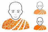 Buddhist Monk Composition Of Ragged Elements In Various Sizes And Color Hues, Based On Buddhist Monk poster