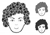 Hairstyle Head Mosaic Of Humpy Pieces In Various Sizes And Shades, Based On Hairstyle Head Icon. Vec poster
